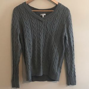 Gray Chunky Cable Knit Sweater Croft & Barrow